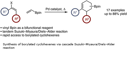 Synthesis of borylated cyclohexenes via cascade Suzuki–Miyaura/Diels–Alder reaction
