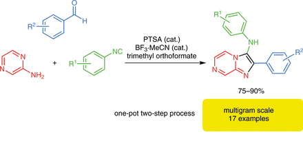 One-pot, two-step procedure to synthesize 3-aminoimidazo[1,2-a]pyrazines