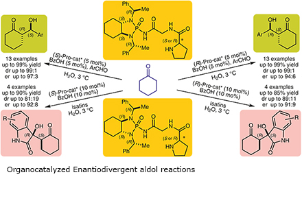 Organocatalyzed Enantiodivergent aldol reactions