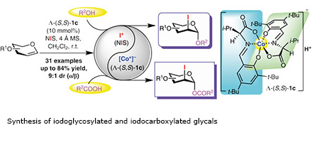 Synthesis of iodoglycosylated and iodocarboxylated glycals