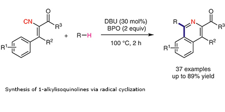 Synthesis of 1-alkylisoquinolines via radical cyclization