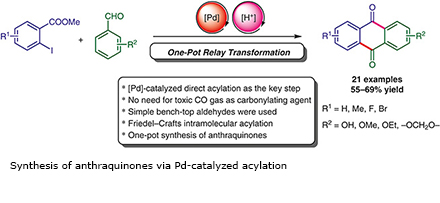 Synthesis of anthraquinones via Pd-catalyzed acylation