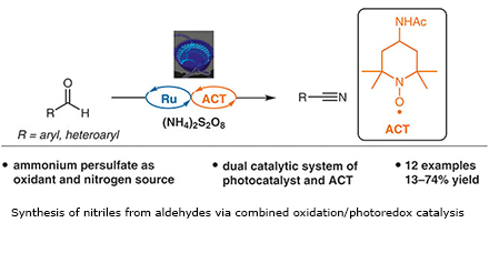 Synthesis of nitriles from aldehydes via combined oxidation/photoredox catalysis