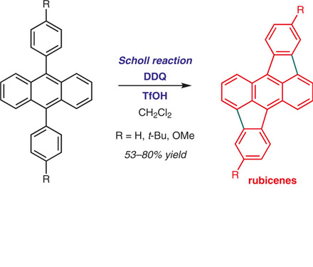 Shinji Toyota reports the synthesis of functionalized rubicenes using the Scholl reaction.