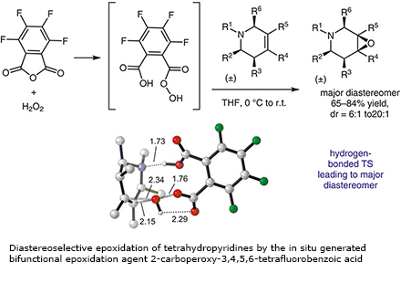 Diastereoselective epoxidation of tetrahydropyridines by the in situ generated bifunctional epoxidation agent 2-carboperoxy-3,4,5,6-tetrafluorobenzoic acid