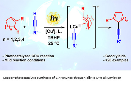Copper-photocatalytic synthesis of 1,4-enynes through allylic C–H alkynylation